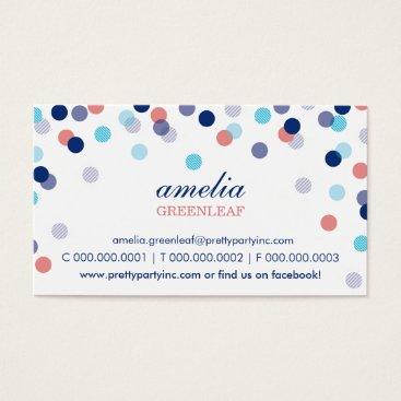 Professional Business BUSINESS CARD :: stylish confetti navy aqua coral