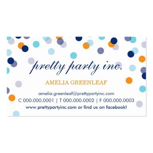 BUSINESS CARD :: stylish confetti navy aqua orange