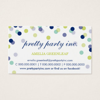 BUSINESS CARD :: stylish confetti navy mint lime