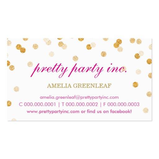 BUSINESS CARD stylish confetti pink gold glitter