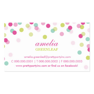 BUSINESS CARD :: stylish confetti pink lime mint Standard Business Cards
