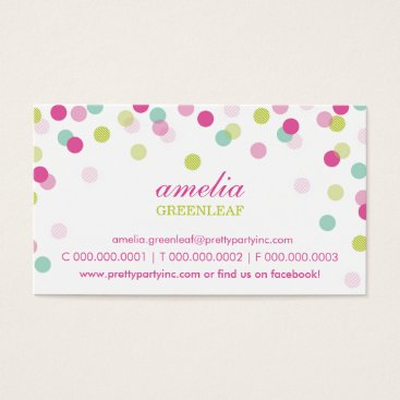 Professional Business BUSINESS CARD :: stylish confetti pink lime mint