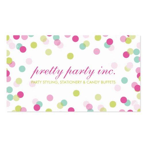 BUSINESS CARD :: stylish confetti pink lime mint (back side)