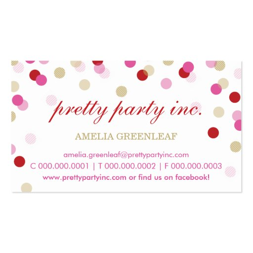 Business Card Stylish Confetti Red Pink Gold