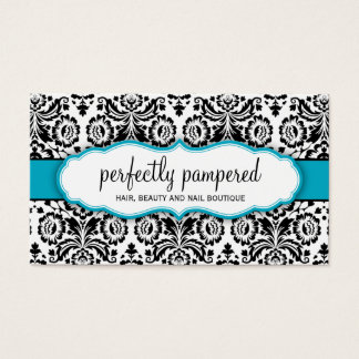 BUSINESS CARD stylish damask black aqua blue