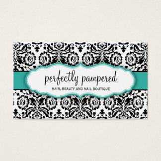 BUSINESS CARD stylish damask black jade emerald