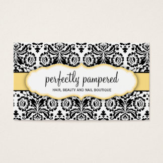BUSINESS CARD stylish damask black lemon yellow