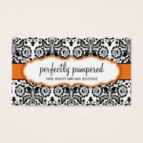 BUSINESS CARD stylish damask black orange