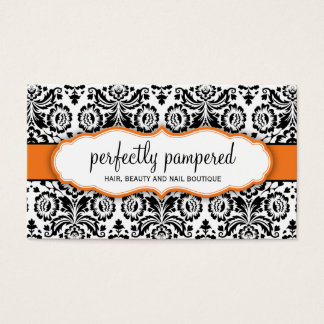 BUSINESS CARD stylish damask black orange