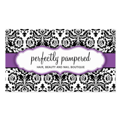 BUSINESS CARD stylish damask black violet purple