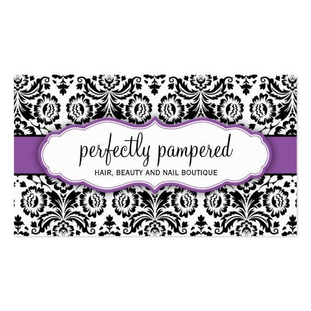 business card stylish damask black violet purple. Black Bedroom Furniture Sets. Home Design Ideas