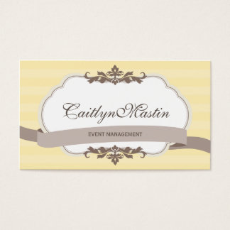 BUSINESS CARD stylish elegant butter yellow brown