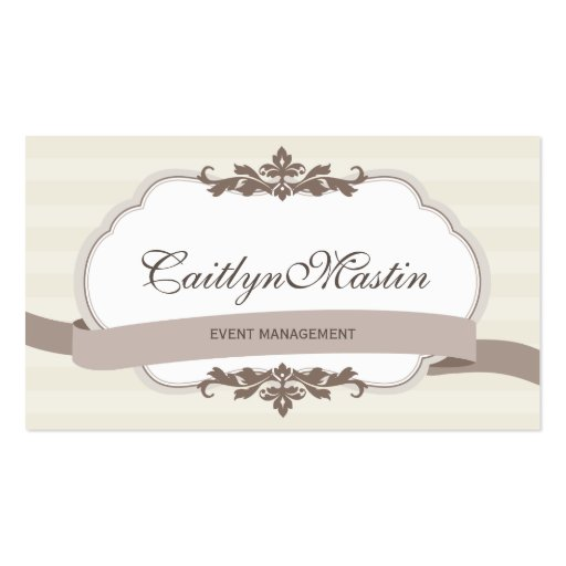 BUSINESS CARD stylish elegant ivory brown (front side)