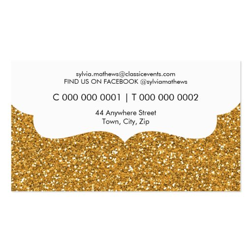 BUSINESS CARD stylish glitter sparkle gold pink (back side)