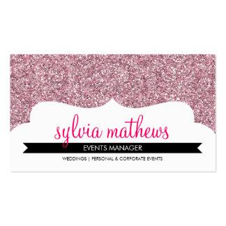 BUSINESS CARD stylish glitter sparkle pale pink