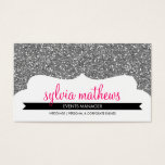 BUSINESS CARD stylish glitter sparkle silver pink