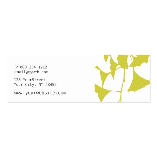 Business Card | Teachers  | Nature Ginkgo (back side)