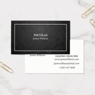 Business card template. Black Polygon Name card.