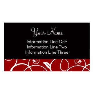 Business Card Template Curly Vines Crimson Black