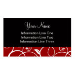 Business Card Template **Curly Vines Crimson Black