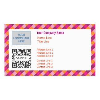 Business Card Template Gen Pink Orang Argyle 2