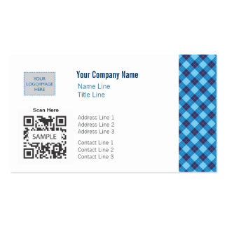 Business Card Template Generic Blue Argyle