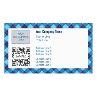Business Card Template Generic Blue Argyle 2