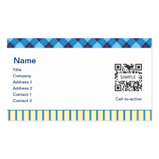 Business Card Template Generic Blue/Yellow Argyle
