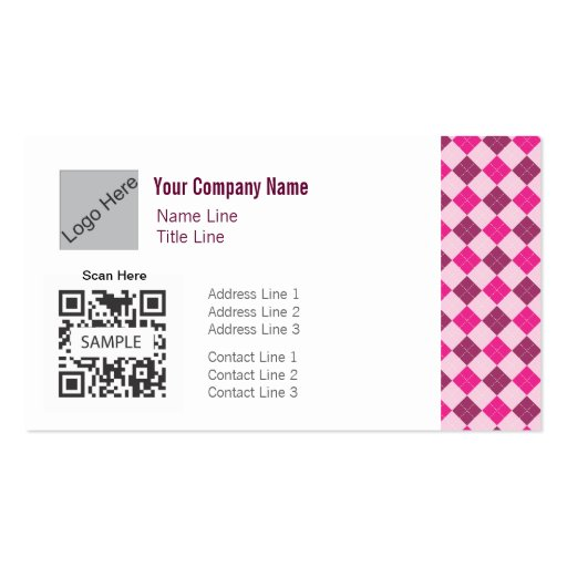 Business Card Template Generic Pink Argyle