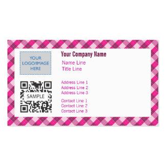 Business Card Template Generic Pink Argyle 2