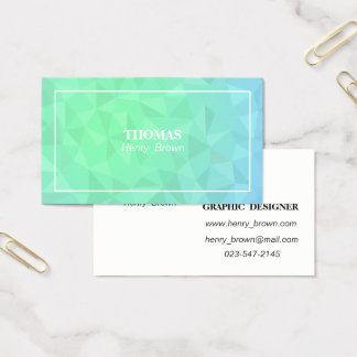 Business card template. Green Polygon Name card.