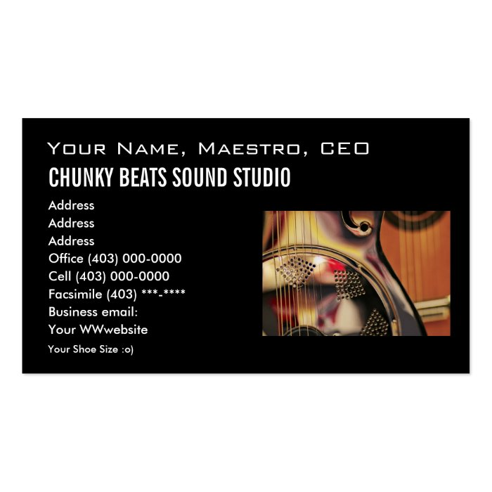 Business card template music industry zazzle for Music business card template