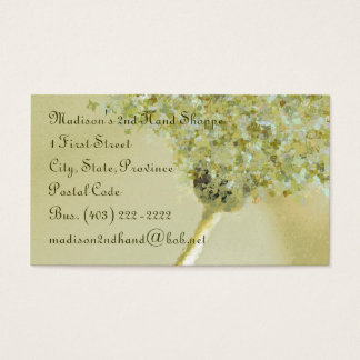 Business Card TemplateButterfly Daisy Sage Green