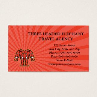Business card Three Headed Elephant Standing Retro