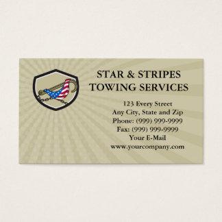 Business card Towing J Hook Flag Draped Shield Ret