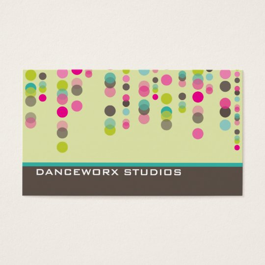 BUSINESS CARD trendy disco spots green pink aqua