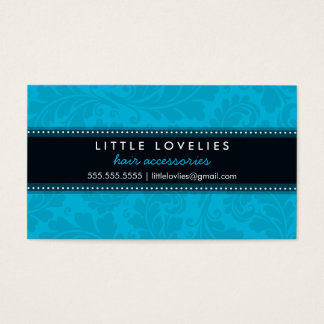 BUSINESS CARD trendy flourish aqua blue black