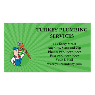 Business card Turkey Plumber Monkey Wrench Circle