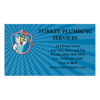 Business card Turkey Plumber Monkey Wrench Shield