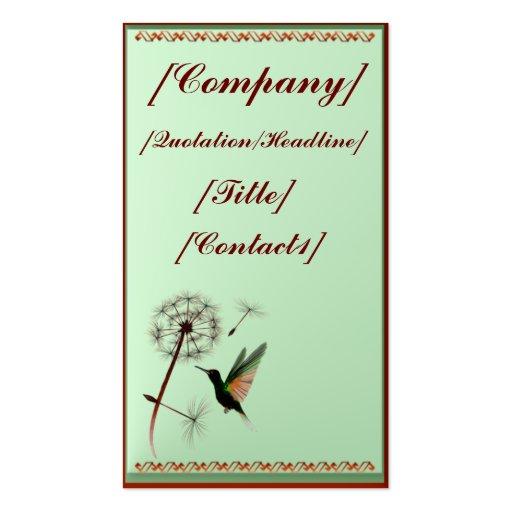 Business Card Vertical Dandelion and Hummingbird