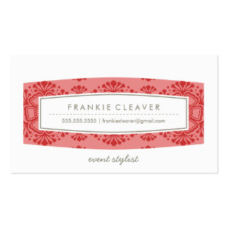 BUSINESS CARD vintage floral pattern coral red
