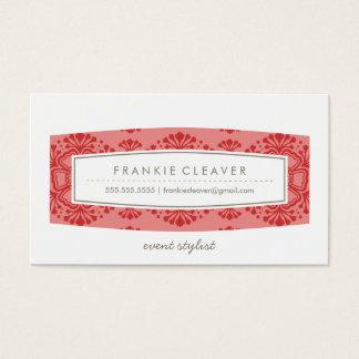 BUSINESS CARD vintage floral pattern coral red