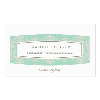 BUSINESS CARD vintage floral pattern mint cream