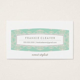BUSINESS CARD vintage floral pattern mint cream
