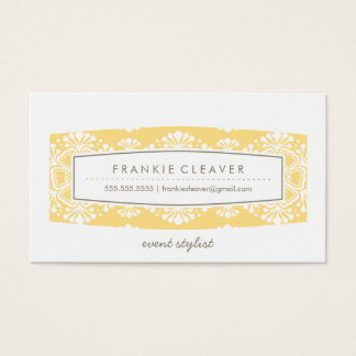 BUSINESS CARD vintage floral pattern panel yellow