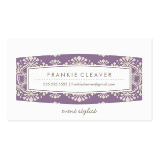 BUSINESS CARD vintage floral pattern purple cream