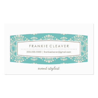 BUSINESS CARD vintage floral pattern turquoise