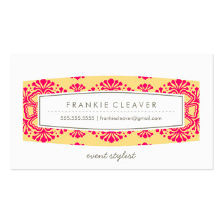 BUSINESS CARD vintage floral pattern yellow pink