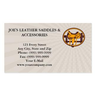 Business card Western Saddle Fence Oval Retro