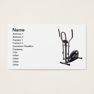 Business card with fitness equipment.